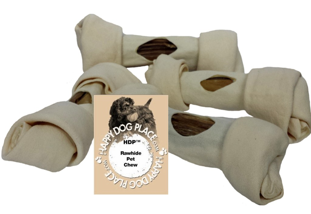 HDP Premium Natural Rawhide Bully Filled Bones 6-7""