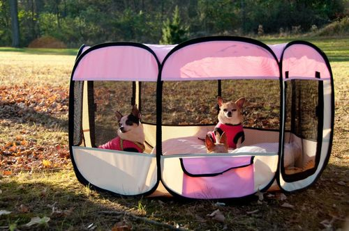 Portable Pet Kennel Playpen Collapsible Travel Med Pink